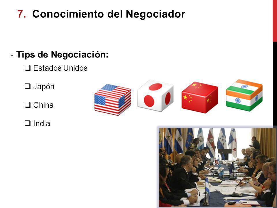 7. 7. Conocimiento del Negociador imiento del Negociador - Tips de Negociación: Estados Unidos Japón China India
