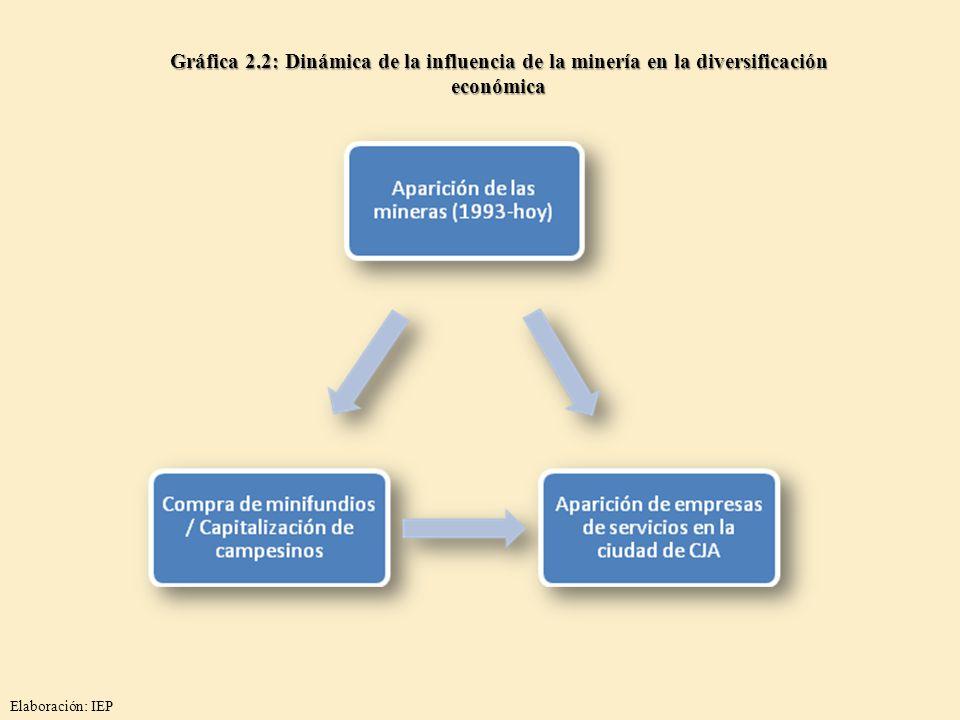 Gráfica 2.2: Dinámica de la influencia de la minería en la diversificación económica Elaboración: IEP