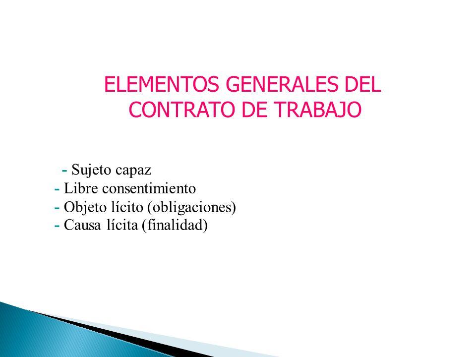 ELEMENTOS GENERALES DEL CONTRATO DE TRABAJO - Sujeto capaz - Libre consentimiento - Objeto lícito (obligaciones) - Causa lícita (finalidad)