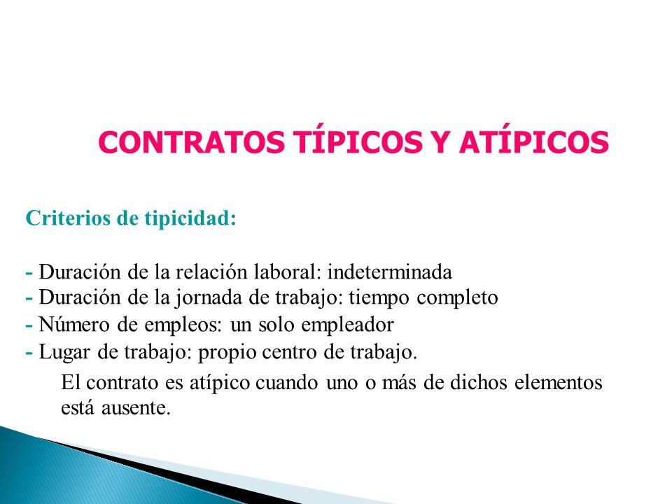 CONTRATOS TÍPICOS Y ATÍPICOS Criterios de tipicidad: - Duración de la relación laboral: indeterminada - Duración de la jornada de trabajo: tiempo comp