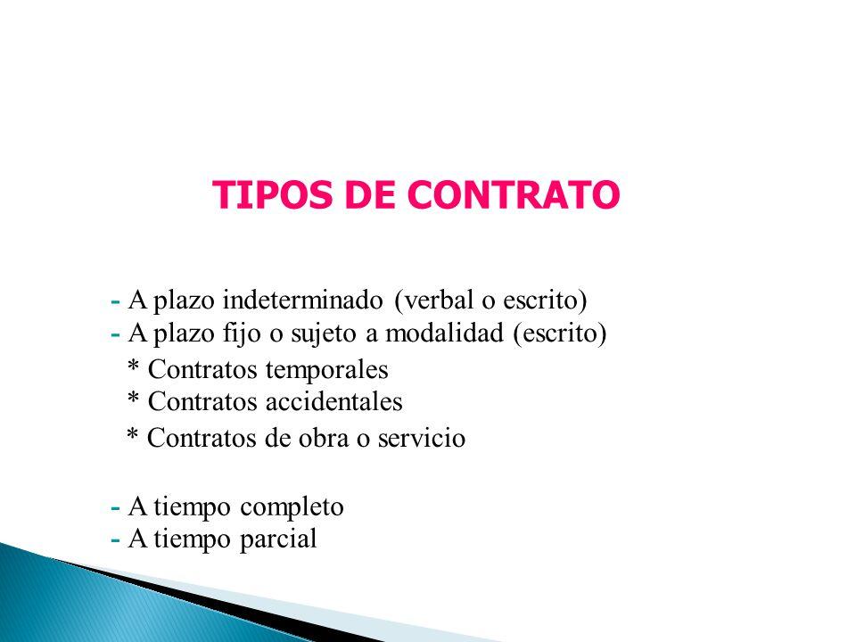 TIPOS DE CONTRATO - A plazo indeterminado (verbal o escrito) - A plazo fijo o sujeto a modalidad (escrito) * Contratos temporales * Contratos accident