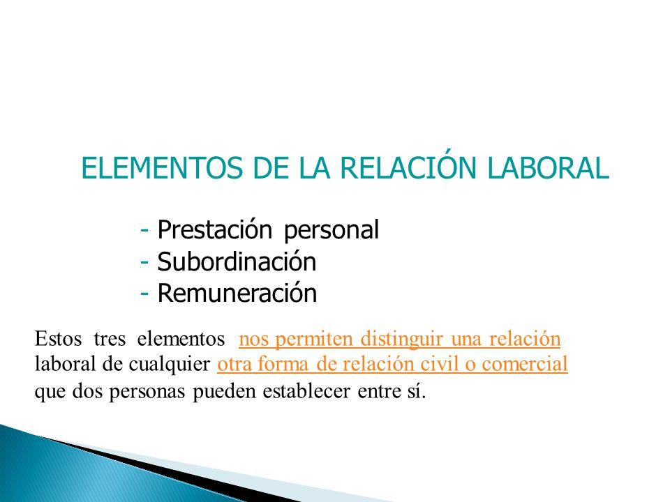 ELEMENTOS DE LA RELACIÓN LABORAL Prestación personal: Servicio o labor realizada directamente por el propio trabajador (persona natural).