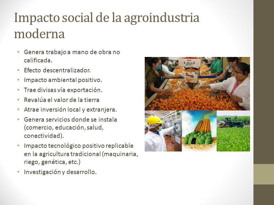 Impacto social de la agroindustria moderna Genera trabajo a mano de obra no calificada. Efecto descentralizador. Impacto ambiental positivo. Trae divi