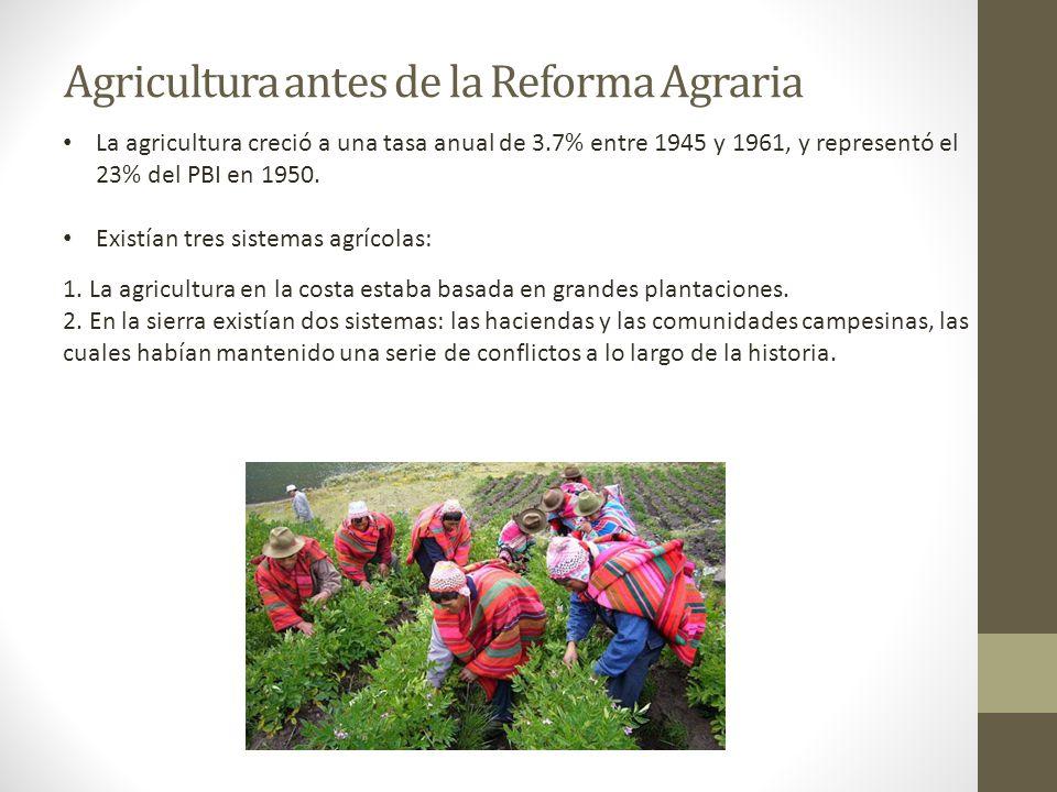Agricultura antes de la Reforma Agraria La agricultura creció a una tasa anual de 3.7% entre 1945 y 1961, y representó el 23% del PBI en 1950. Existía