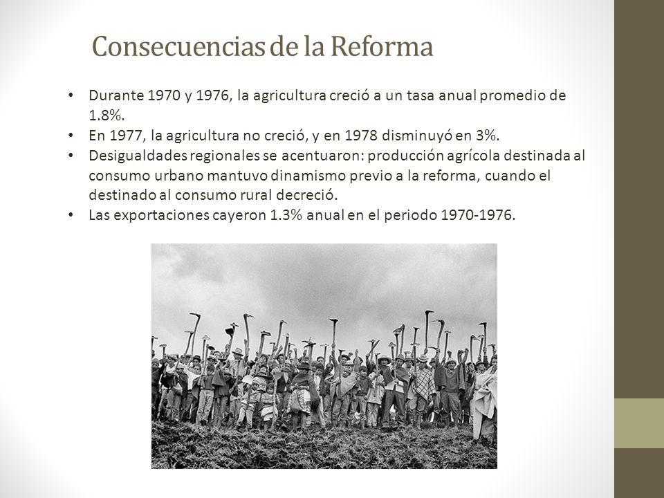 Consecuencias de la Reforma Durante 1970 y 1976, la agricultura creció a un tasa anual promedio de 1.8%. En 1977, la agricultura no creció, y en 1978