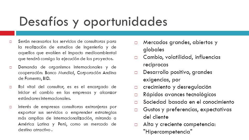 Desafíos y oportunidades Serán necesarios los servicios de consultoras para la realización de estudios de ingeniería y de aquellos que evalúen el impa