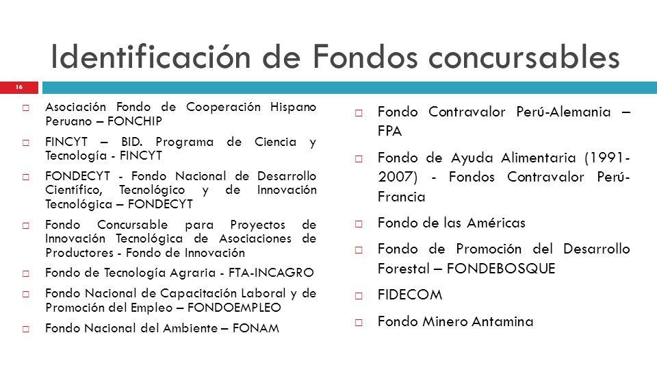 Identificación de Fondos concursables Asociación Fondo de Cooperación Hispano Peruano – FONCHIP FINCYT – BID. Programa de Ciencia y Tecnología - FINCY