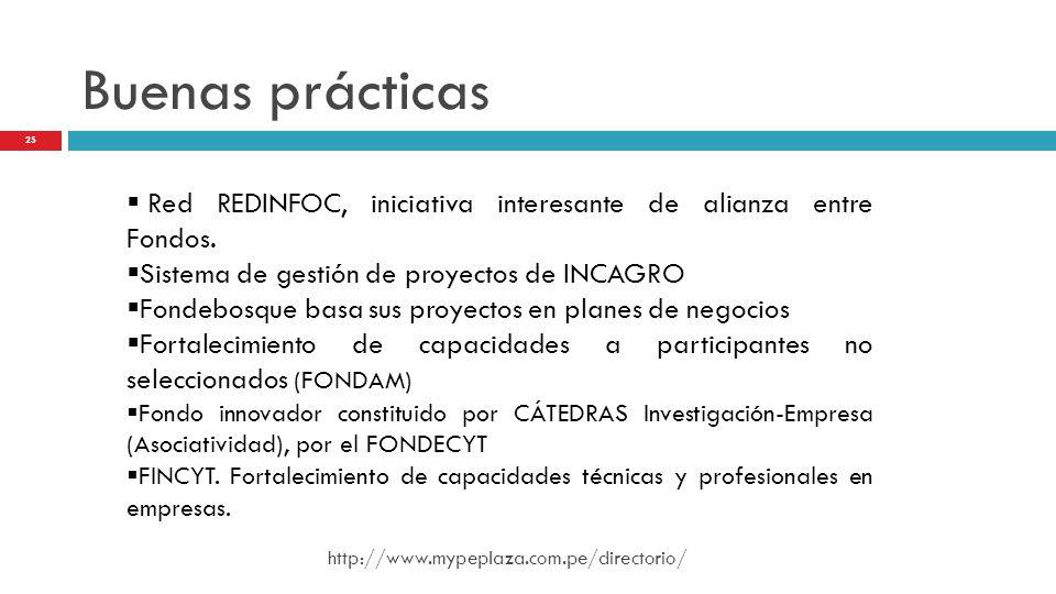 Buenas prácticas Red REDINFOC, iniciativa interesante de alianza entre Fondos. Sistema de gestión de proyectos de INCAGRO Fondebosque basa sus proyect