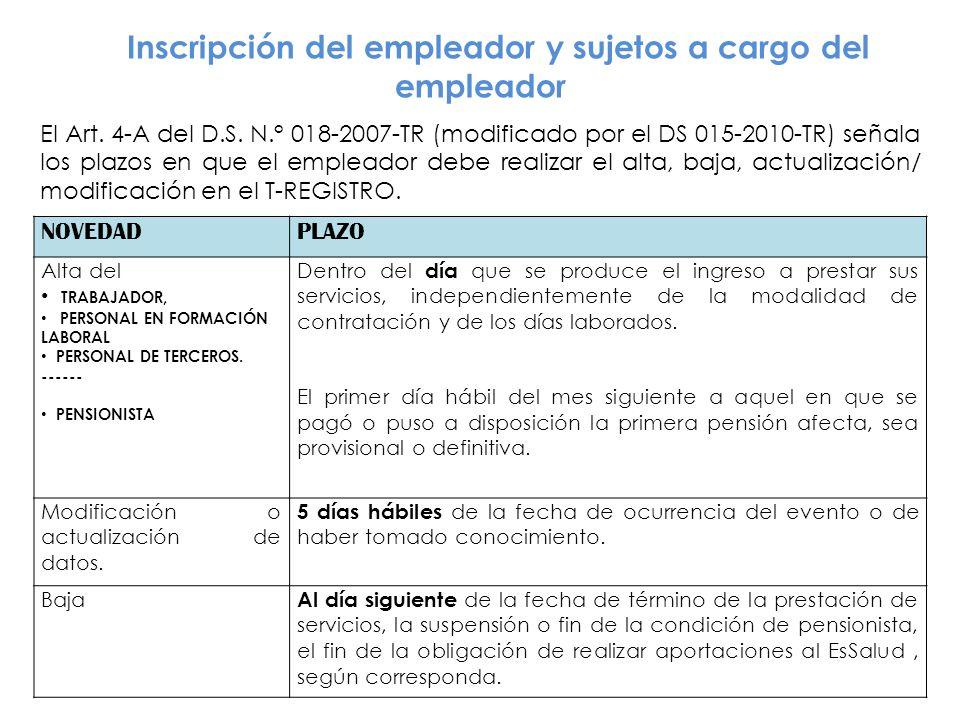 Inscripción del empleador y sujetos a cargo del empleador El Art.