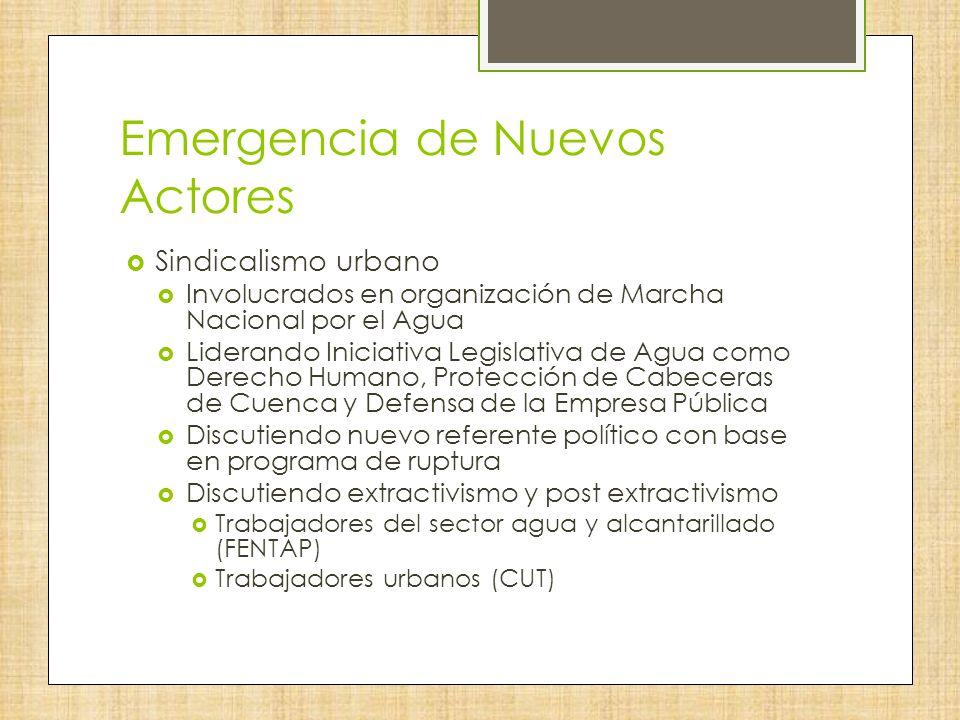 Emergencia de Nuevos Actores Sindicalismo urbano Involucrados en organización de Marcha Nacional por el Agua Liderando Iniciativa Legislativa de Agua