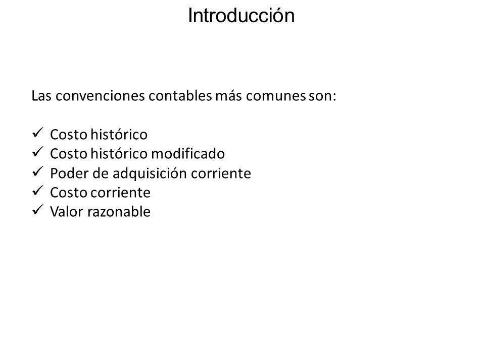 Introducción Las convenciones contables más comunes son: Costo histórico Costo histórico modificado Poder de adquisición corriente Costo corriente Valor razonable