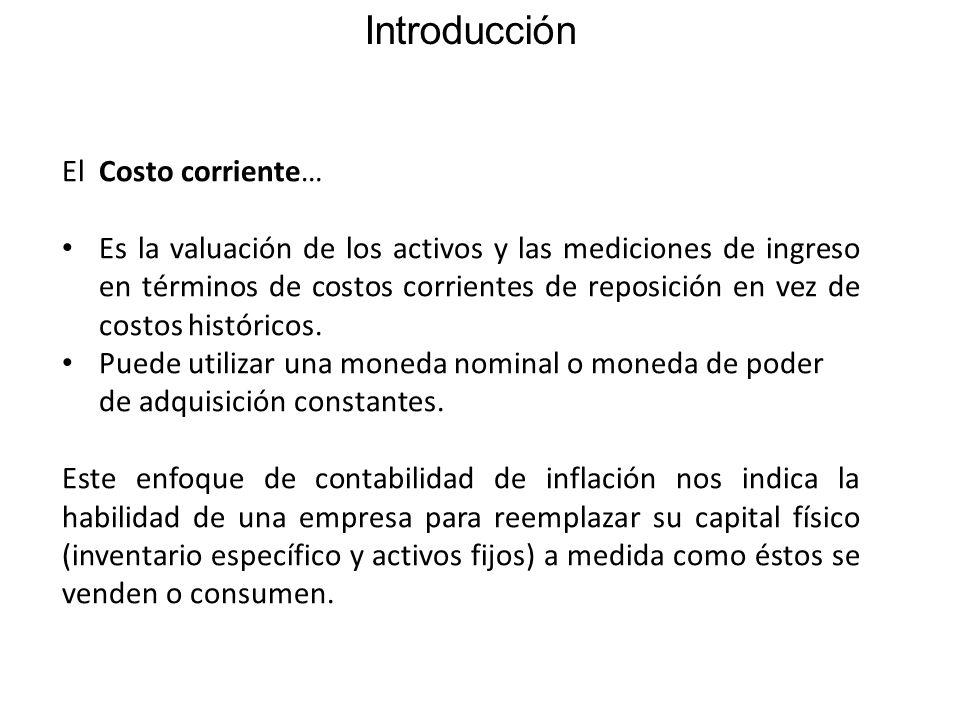 Introducción El Costo corriente… Es la valuación de los activos y las mediciones de ingreso en términos de costos corrientes de reposición en vez de costos históricos.