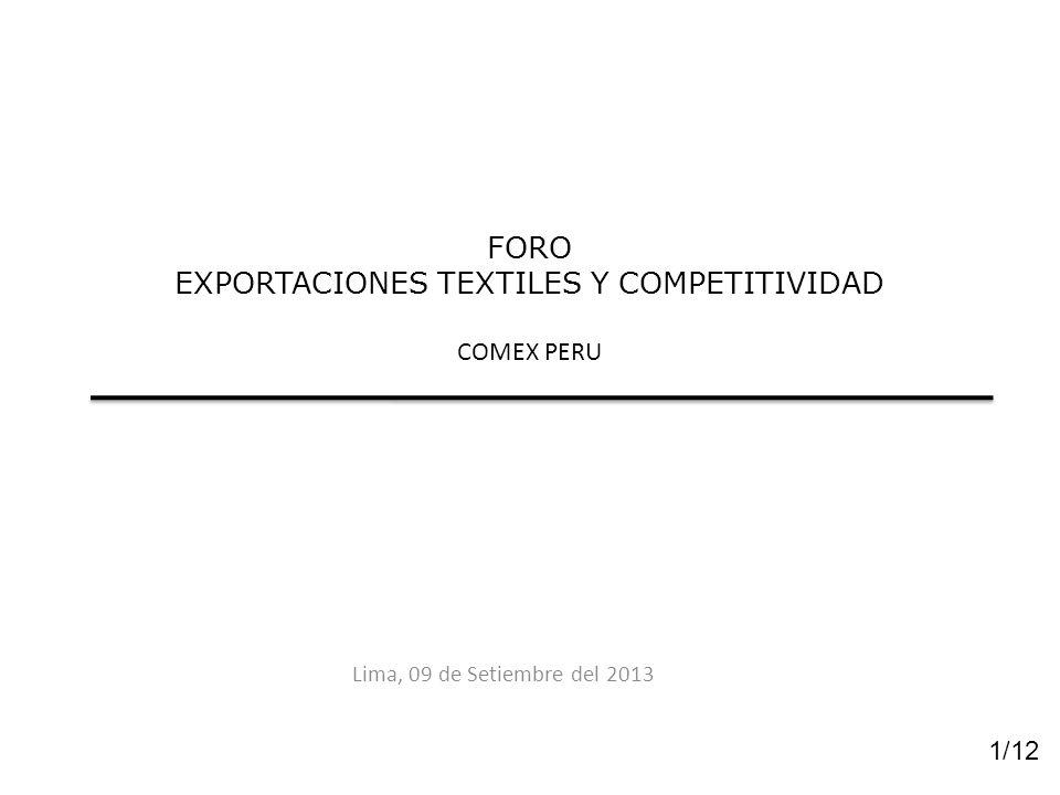 FORO EXPORTACIONES TEXTILES Y COMPETITIVIDAD COMEX PERU Lima, 09 de Setiembre del 2013 1/12