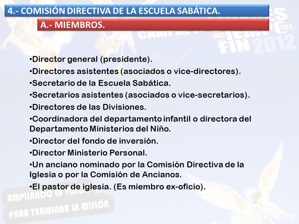 Director general (presidente).Directores asistentes (asociados o vice-directores).