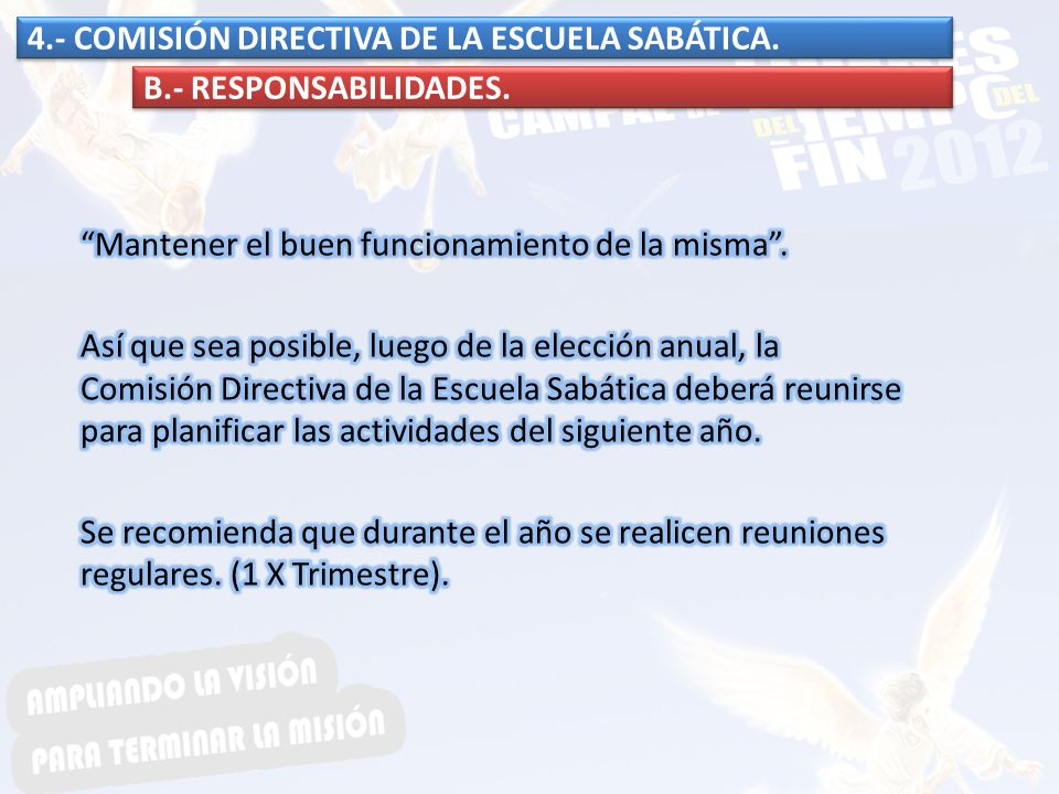 4.- COMISIÓN DIRECTIVA DE LA ESCUELA SABÁTICA. B.- RESPONSABILIDADES.