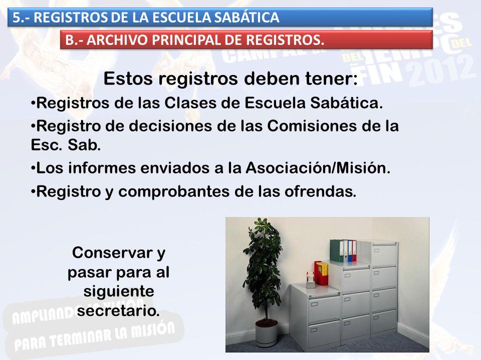 Estos registros deben tener: Registros de las Clases de Escuela Sabática. Registro de decisiones de las Comisiones de la Esc. Sab. Los informes enviad