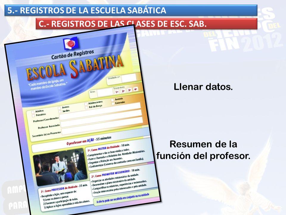 5.- REGISTROS DE LA ESCUELA SABÁTICA C.- REGISTROS DE LAS CLASES DE ESC. SAB. Llenar datos. Resumen de la función del profesor.