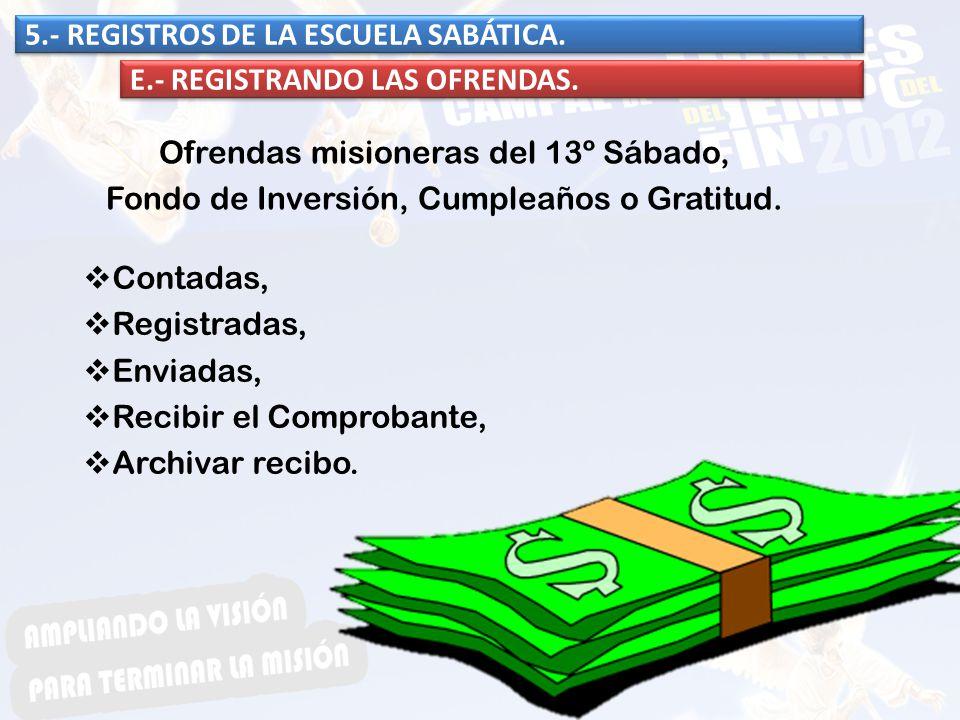 Contadas, Registradas, Enviadas, Recibir el Comprobante, Archivar recibo. 5.- REGISTROS DE LA ESCUELA SABÁTICA. E.- REGISTRANDO LAS OFRENDAS. Ofrendas