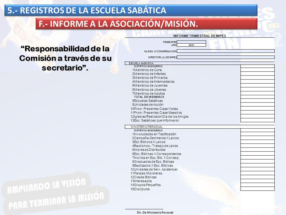 5.- REGISTROS DE LA ESCUELA SABÁTICA F.- INFORME A LA ASOCIACIÓN/MISIÓN. Responsabilidad de la Comisión a través de su secretario. INFORME TRIMESTRAL