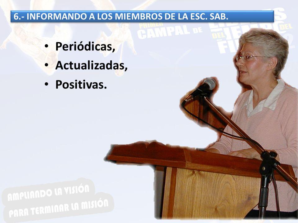 6.- INFORMANDO A LOS MIEMBROS DE LA ESC. SAB. Periódicas, Actualizadas, Positivas.