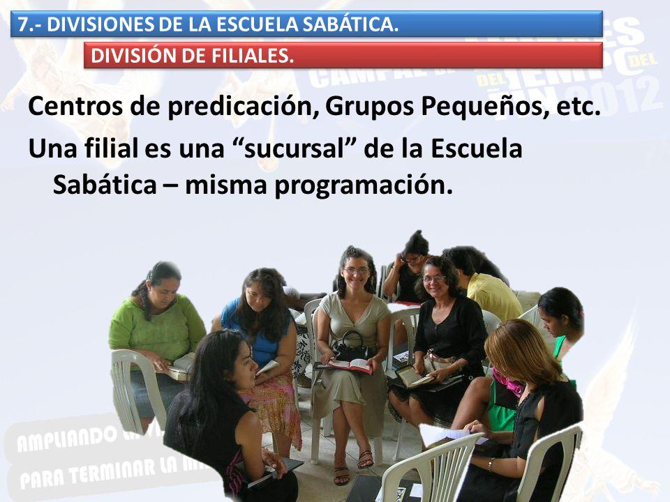 Centros de predicación, Grupos Pequeños, etc. Una filial es una sucursal de la Escuela Sabática – misma programación. 7.- DIVISIONES DE LA ESCUELA SAB