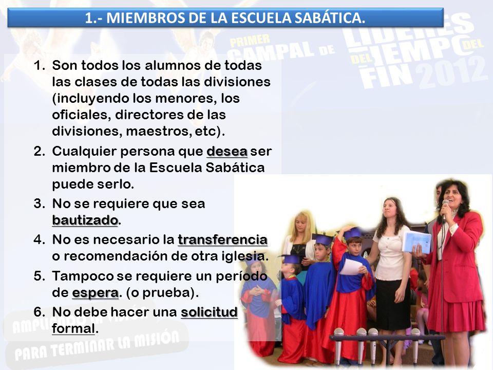 El secretario de Escuela Sabática es responsable de guardar los registros exactos de las actividades de la Escuela Sabática, De Informar a la Comisión de la misma y al Departamento de la Escuela Sabática de la Asociación/Misión local.