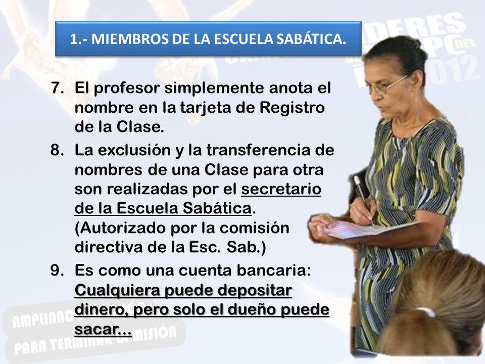 7.El profesor simplemente anota el nombre en la tarjeta de Registro de la Clase. 8.La exclusión y la transferencia de nombres de una Clase para otra s