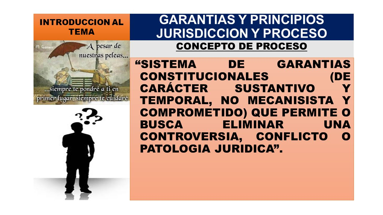 CONCEPTO DE DERECHO PROCESAL (Hugo Alsina): CONJUNTO DE NORMAS QUE REGULAN LA ACTIVIDAD JURISDICCIONAL DEL ESTADO, SU ESTUDIO COMPRENDE LA ORGANIZACIÓN DEL PODER JUDICIAL, LA DETERMINACION DE LA COMPETENCIA DE LOS FUNCIONARIOS QUE LA INTEGRAN Y LA ACTUACION DEL JUEZ Y LAS PARTES EN LA SUSTANCIACION DEL PROCESO INTRODUCCION AL TEMA GARANTIAS Y PRINCIPIOS JURISDICCION Y PROCESO