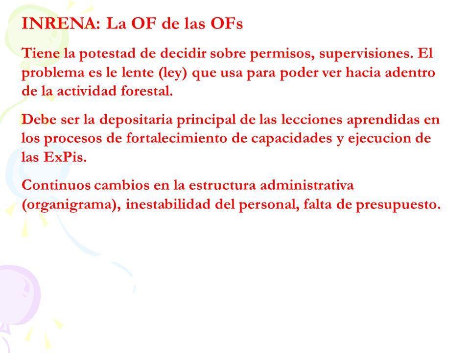 INRENA: La OF de las OFs Tiene la potestad de decidir sobre permisos, supervisiones. El problema es le lente (ley) que usa para poder ver hacia adentr
