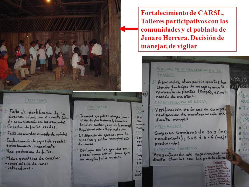 Fortalecimiento de CARSL, Talleres participativos con las comunidades y el poblado de Jenaro Herrera. Decisión de manejar, de vigilar