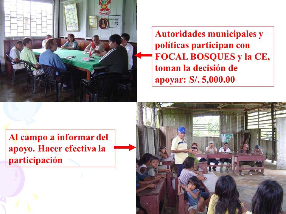 Autoridades municipales y políticas participan con FOCAL BOSQUES y la CE, toman la decisión de apoyar: S/. 5,000.00 Al campo a informar del apoyo. Hac