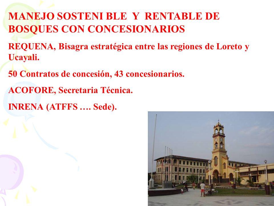 MANEJO SOSTENI BLE Y RENTABLE DE BOSQUES CON CONCESIONARIOS REQUENA, Bisagra estratégica entre las regiones de Loreto y Ucayali. 50 Contratos de conce