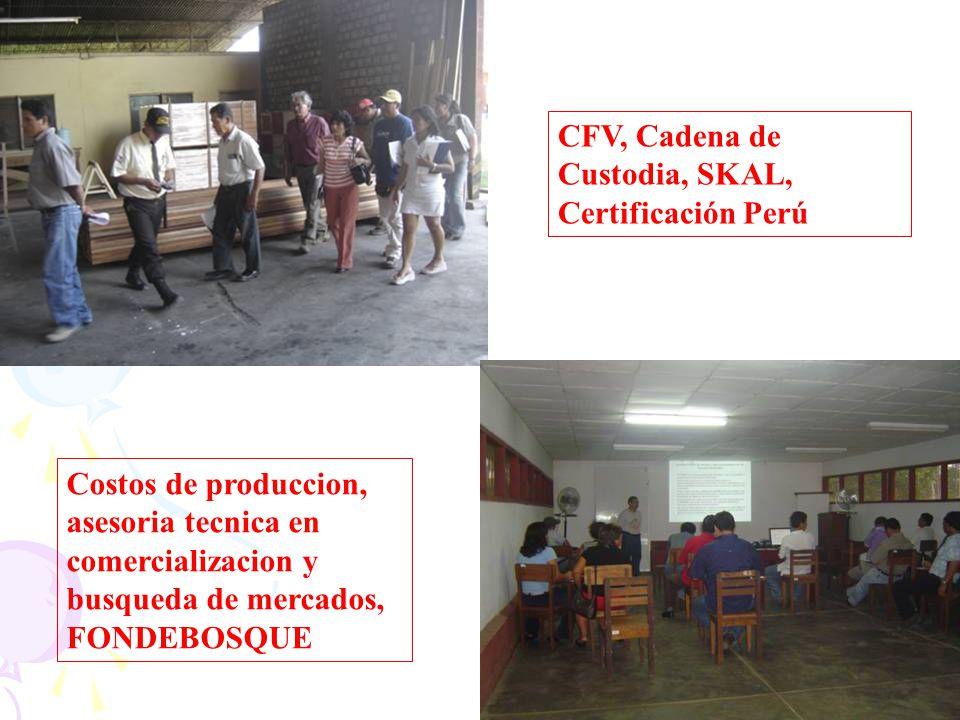 CFV, Cadena de Custodia, SKAL, Certificación Perú Costos de produccion, asesoria tecnica en comercializacion y busqueda de mercados, FONDEBOSQUE