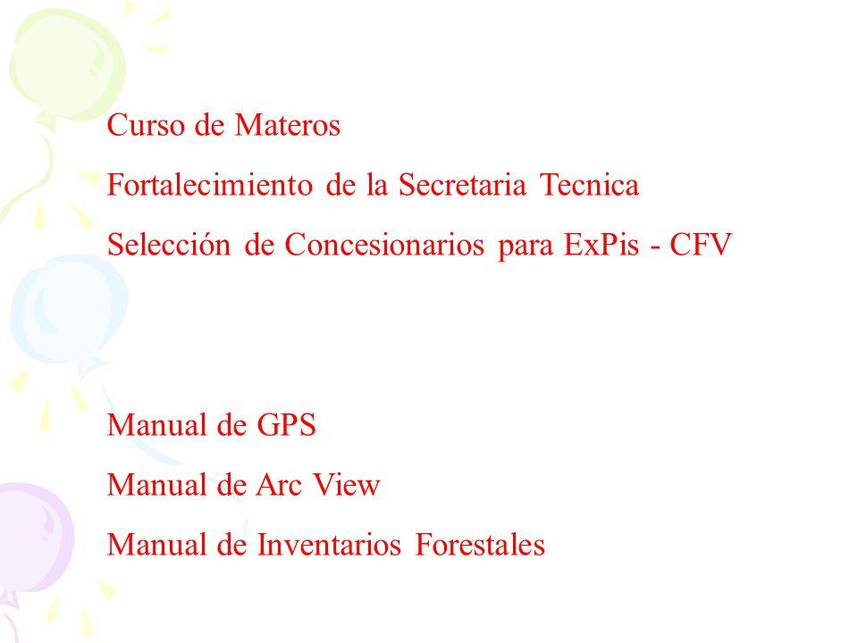 Curso de Materos Fortalecimiento de la Secretaria Tecnica Selección de Concesionarios para ExPis - CFV Manual de GPS Manual de Arc View Manual de Inve