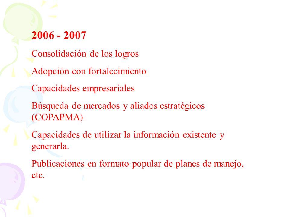 2006 - 2007 Consolidación de los logros Adopción con fortalecimiento Capacidades empresariales Búsqueda de mercados y aliados estratégicos (COPAPMA) C