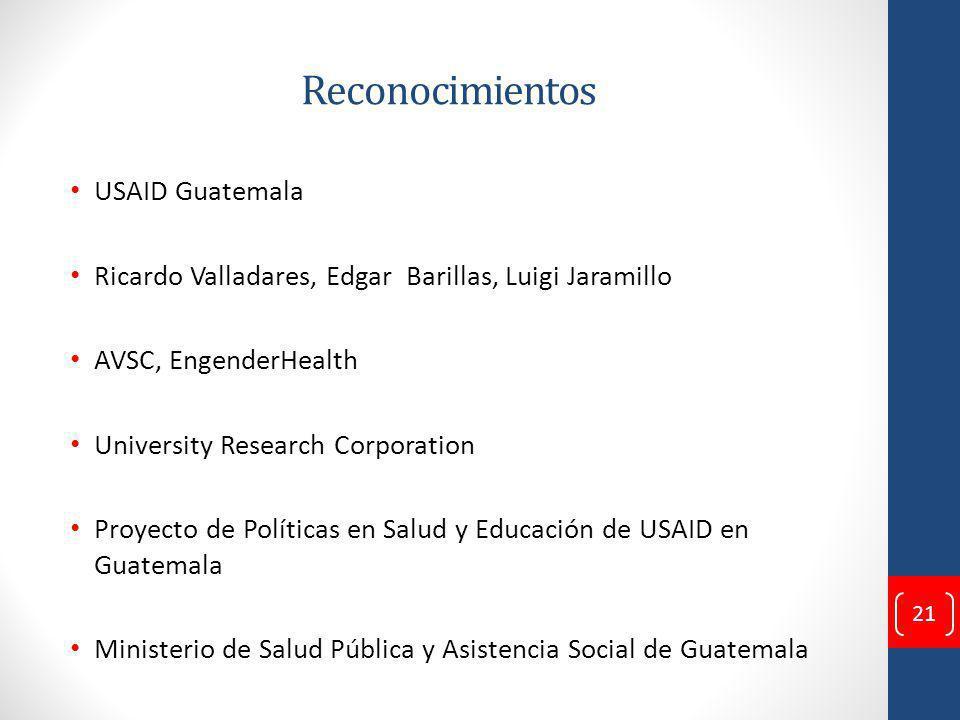 Reconocimientos USAID Guatemala Ricardo Valladares, Edgar Barillas, Luigi Jaramillo AVSC, EngenderHealth University Research Corporation Proyecto de Políticas en Salud y Educación de USAID en Guatemala Ministerio de Salud Pública y Asistencia Social de Guatemala 21