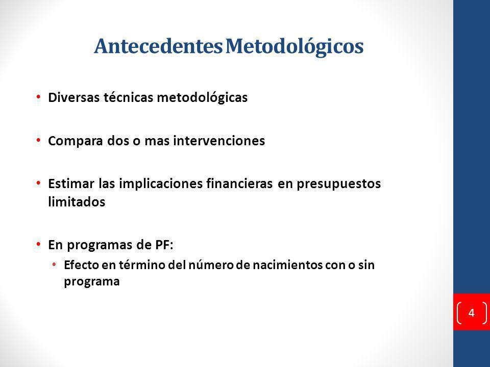 Antecedentes Metodológicos Diversas técnicas metodológicas Compara dos o mas intervenciones Estimar las implicaciones financieras en presupuestos limitados En programas de PF: Efecto en término del número de nacimientos con o sin programa 4