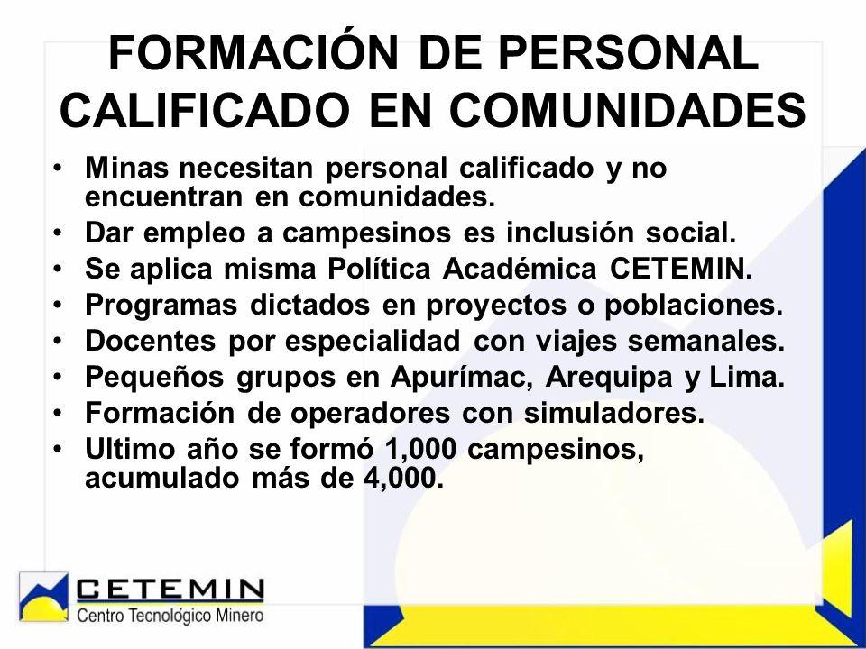 FORMACIÓN DE PERSONAL CALIFICADO EN COMUNIDADES Minas necesitan personal calificado y no encuentran en comunidades. Dar empleo a campesinos es inclusi