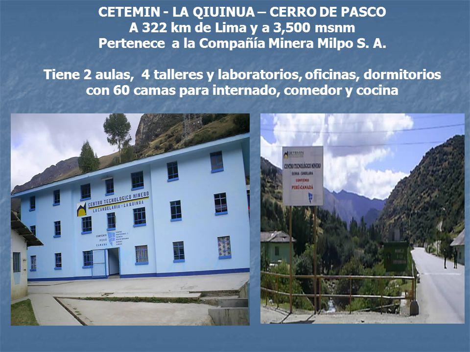 CETEMIN - LA QIUINUA – CERRO DE PASCO A 322 km de Lima y a 3,500 msnm Pertenece a la Compañía Minera Milpo S. A. Tiene 2 aulas, 4 talleres y laborator