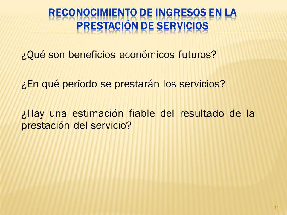 ¿Qué son beneficios económicos futuros? ¿En qué período se prestarán los servicios? ¿Hay una estimación fiable del resultado de la prestación del serv