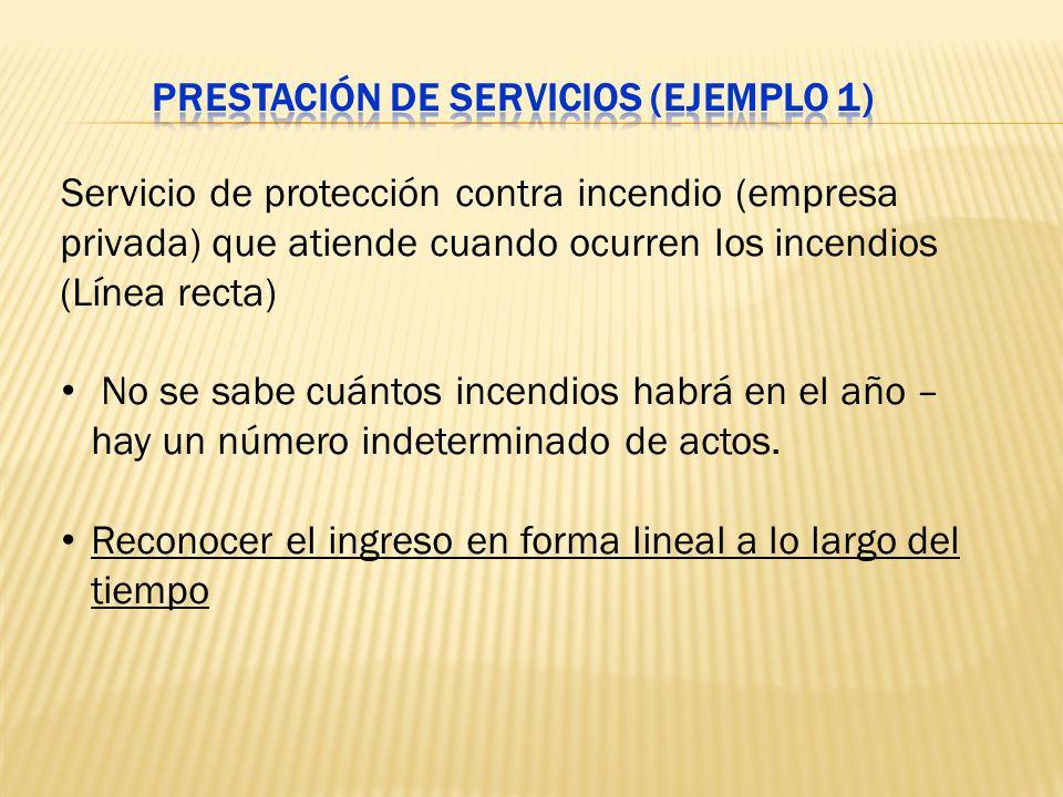 Servicio de protección contra incendio (empresa privada) que atiende cuando ocurren los incendios (Línea recta) No se sabe cuántos incendios habrá en