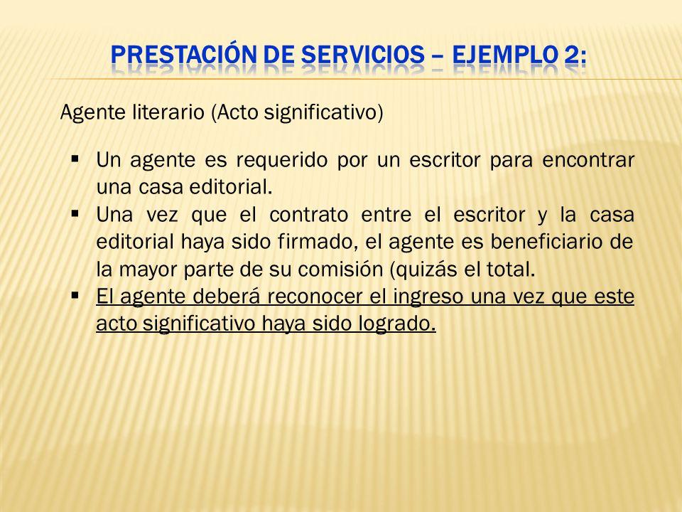 Un agente es requerido por un escritor para encontrar una casa editorial. Una vez que el contrato entre el escritor y la casa editorial haya sido firm