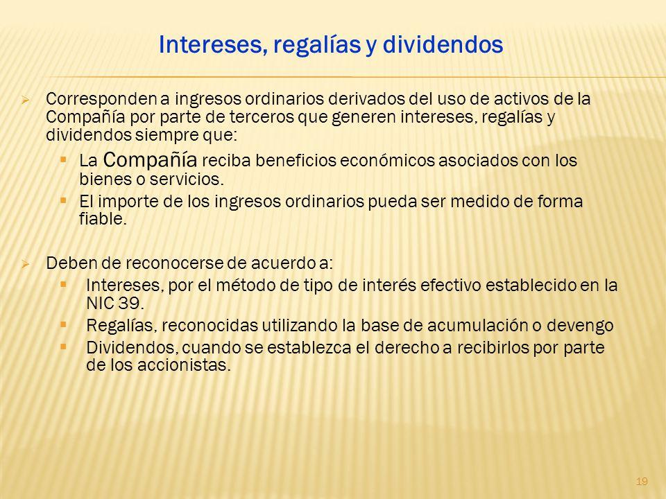 Corresponden a ingresos ordinarios derivados del uso de activos de la Compañía por parte de terceros que generen intereses, regalías y dividendos siem