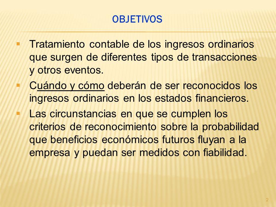 Tratamiento contable de los ingresos ordinarios que surgen de diferentes tipos de transacciones y otros eventos. Cuándo y cómo deberán de ser reconoci
