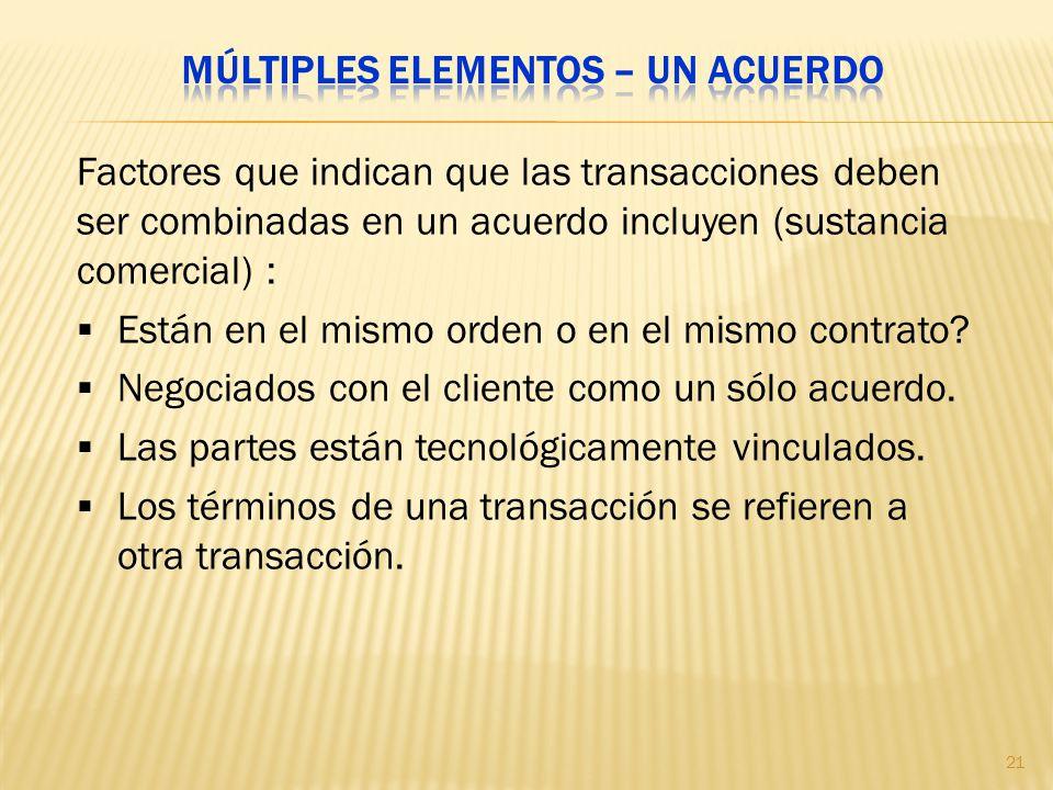 Factores que indican que las transacciones deben ser combinadas en un acuerdo incluyen (sustancia comercial) : Están en el mismo orden o en el mismo c