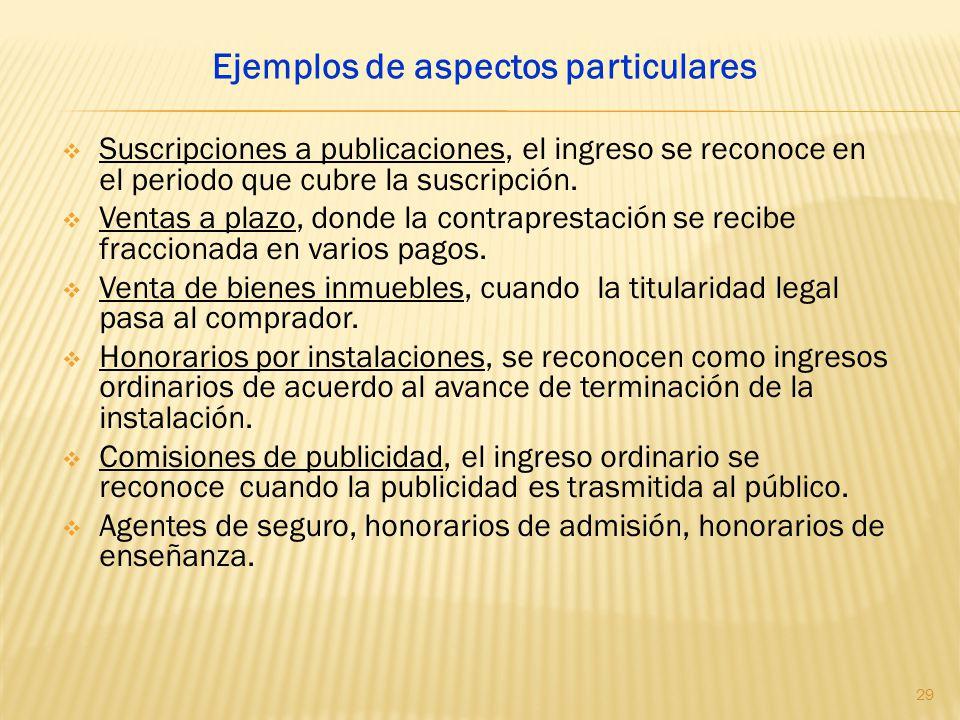 Suscripciones a publicaciones, el ingreso se reconoce en el periodo que cubre la suscripción. Ventas a plazo, donde la contraprestación se recibe frac