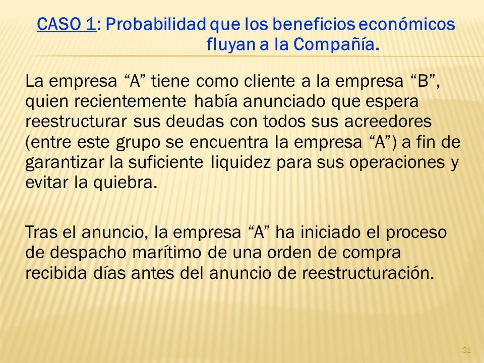 La empresa A tiene como cliente a la empresa B, quien recientemente había anunciado que espera reestructurar sus deudas con todos sus acreedores (entr