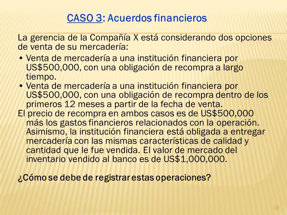 La gerencia de la Compañía X está considerando dos opciones de venta de su mercadería: Venta de mercadería a una institución financiera por US$500,000
