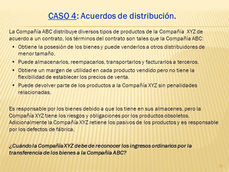 La Compañía ABC distribuye diversos tipos de productos de la Compañía XYZ de acuerdo a un contrato, los términos del contrato son tales que la Compañí