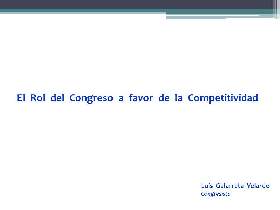 El Rol del Congreso a favor de la Competitividad Luis Galarreta Velarde Congresista